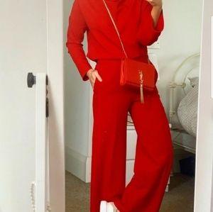 Zara XXL bright red cowl neck top bloggers fav